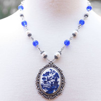 Blue Willow China Necklace, Blue Willow Necklace, Love Story Pearl Jewelry, Love Bird Chinese Legend, Asian Inspired Silver Necklace, SRAJD