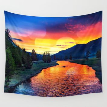 Sunset at Yellowstone Wall Tapestry by minx267