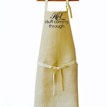 Womens Aprons -Personalized Monogrammed Full Length Burlap Apron -Color Options Available -Valentines Gifts -Gift for Her -Message Apron