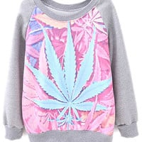 ROMWE | Grey Raglan Sleeve Leaves Print Sweatshirt, The Latest Street Fashion