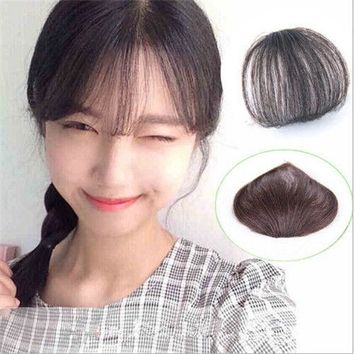 Fashion Women Real Human Hair Thin Neat Air Bangs Clip In Fringe Front Hairpiece