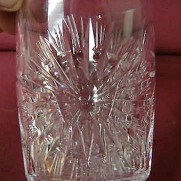 #Vintage Crystal Glass Barwear stemware double old fashioned Sun burst  Clear