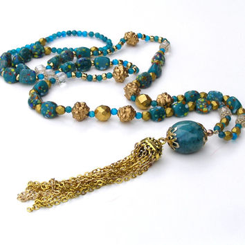 Tassel Necklace, Turquoise Beaded Necklace, Gold Chain Tassel, Bohemian Jewelry