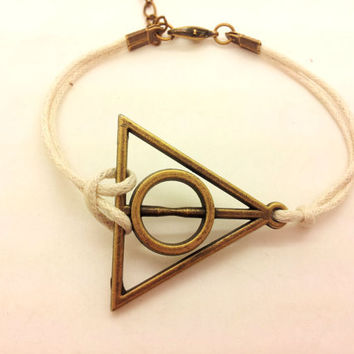 Antique Brass Harry potter Deathly Hallows White Rope Bracelet women ropes bracelet Men rope bracelet  1321A