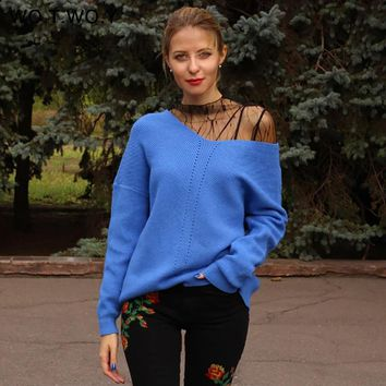 WOTWOY Winter Knit Pullovers Women Long Sleeve Basic Cashmere Sweater Women Pullover Knitted Casual Blue Female Jumper