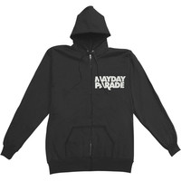 Mayday Parade Men's  Lines Zippered Hooded Sweatshirt Black