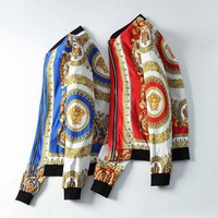 Versace Red and Blue Men Fashion Casual Cardigan Jacket Coat