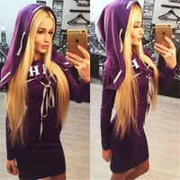 Purple Long Sleeve Hooded Mini Dress