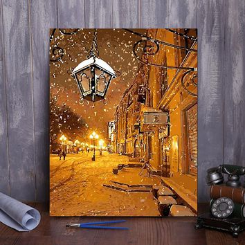Framed painting by number 4050 snow night
