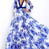 Bohemian Watercolor Blue Romantic Floral Maxi Dress