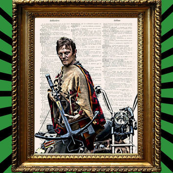 Daryl Dixon AMCs The Walking Dead Poster with Crossbow Pancho and Motorcycle Awesome Upcycled Vintage Dictionary Page Book Art Print 8x10