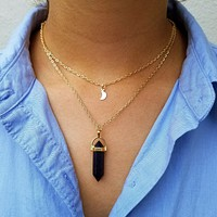 Moon Stone Layered Necklace