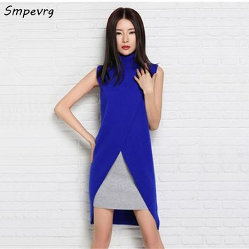 Smpevrg Spring New Women's Cashmere sweater Blend Long Vests Sleeveless Outerwear Female Turn-down Collar Pullover woman dress