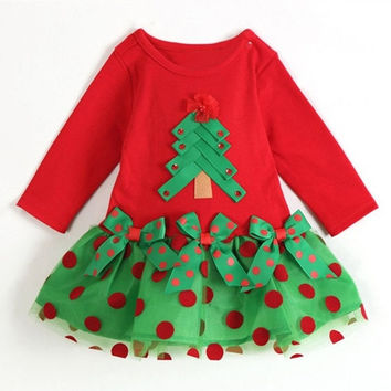 Christmas&amp Autumn Baby Girls Long Sleeve Polka Dot One-piece Shirt Dress Clothes = 1958172612