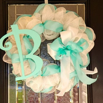 Baby Boy Welcoming Wreath, Baby Shower Decoration, New Baby Decor, Baby Gift with Monogram