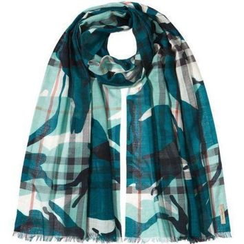 CREYON Burberry Painted Camo Check Gauze Scarf Teal $365