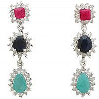0.50 ct Ruby and 0.60 ct Sapphire, 0.86 ct Emerald and 0.76 ct Diamond, 18 ct White Gold Drop Earrings - Vintage Circa 1990