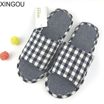New Natural linen slippers men fashion 2017 Comfortable flax male slippers home fresh indoor home slipper Hemp men's slippers