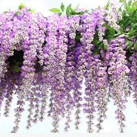 FatColo 12-Piece Artificial Wisteria Vine Ratta Silk Flowers, 3.4-Feet, Purple
