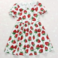 Strawberry printing dress dolly kei peter pan collar lolita kawaii vintage amo