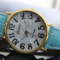 New style Geneva watches, leather shell shape dial watches, men's and women's watch