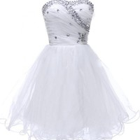 Honeystore Women's Tulle Sweetheart Crystal Formal Cocktail homecoming dresses White US2/UK6/EUR32