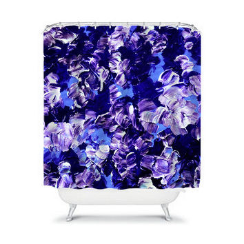 FLORAL FANTASY 2 Purple Floral Art Shower Curtain Washable Home Decor Colorful Lavender Periwinkle Blue Violet Painting Modern Bathroom