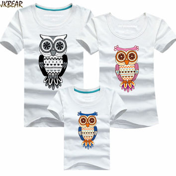 Mother's Day Gift Lovely Family Matching Night Owl Print Short Sleeve T Shirts Cute Mother Daugther Casual Tee Plus Size S-4XL