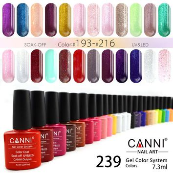 #30917 Hot Nail Art Design CANNI Brand Matte French Tip Gel Nail Polish 239 Color Metal Mirror Bling Soak off UV Nail Gel Polish