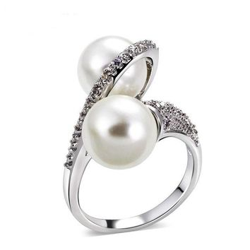 DKJN6 Shell pearl micro inlaid zircon ring simple personality fashion ring