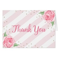 bridal shower thank you note cards floral pink