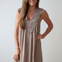 Days of Summer Crochet Detail Gauze Dress - Mocha