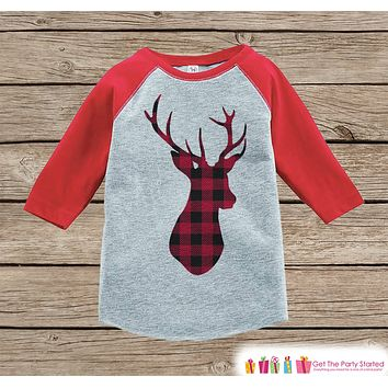 Kids Christmas Outfit - Boy or Girl Holiday Shirt or Onepiece - Winter Outfit - Deer Shirt - Plaid Deer Shirt - Kids, Baby, Toddler, Youth