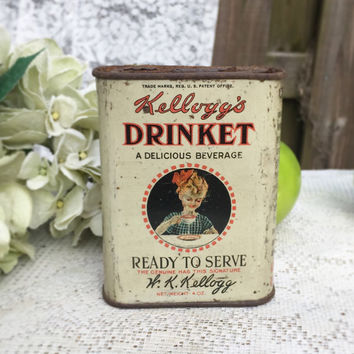 Rare Antique Kellogg's Drinket Tin Litho box, Advertising, kitchen storage, rustic primitive, spice, decor, Breakfast Coffee, White