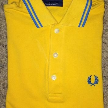 Sale!! Vintage FRED PERRY Yellow/blue Polo Shirt Casual ska punk tee