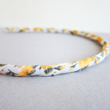Headband Hair Band Bow Yellow Rose Cream Wheat Oatmeal Spring Summer Garden Floral Flower Vintage Fabric Cloth Shabby Chic Retro