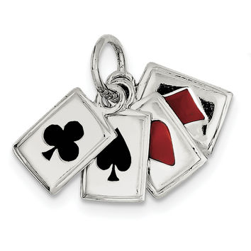 Sterling Silver Enameled Playing Cards Charm QC4733