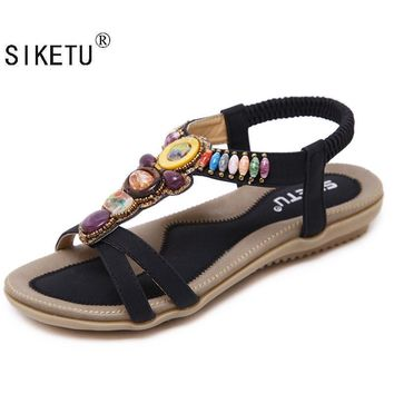 SIKETU Size 42-45 New National Women Sandals Bohemia Flats Beaded Size Foreign Trade S