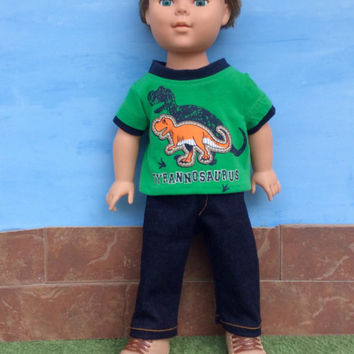 18 Inch Boy Doll Dinosaur T-shirt and Dark Blue Jeans, Green T-shirt and Blue Jeans, Tyrannosaurus T-shirt, Screenprint T shirt