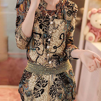 Vintage Print with Lace Accent Drop-Waist Chiffon Dress
