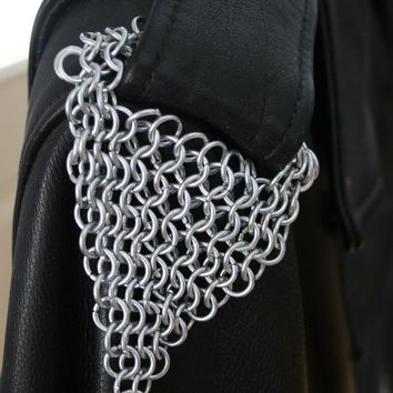 Chainmail Maille Epaulets for Biker by JulieKindtStudio on Zibbet