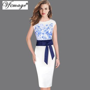 Vfemage Women Elegant Floral Print Contrast Patchwork Belted Bowknot Tunic Work Business Casual Party Evening Bodycon Dress 6330