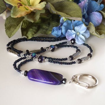 Beaded ID Badge Lanyard. Purple Agate Pendant Bead. Silver Lanyard Clasp. Purple Czech Glass Rondelles, Oval Silver Plated Decorated Beads