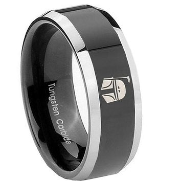 8MM Glossy Black Star Wars Boba Fett Sci Fi Science Bevel Edges 2 Tone Tungsten Laser Engraved Ring