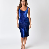Bettie Page Blue Velvet After Hours Ruched Wiggle Dress