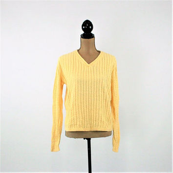 80s Vintage Women Pullover Sweater Yellow Cotton V Neck Cable Knit Casual Preppy 1980s Talbots Large Vintage Clothing Womens Clothing