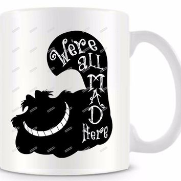 Alice in wonderland Cheshire cat funny novelty travel mug cup 11oz coffee milk tea mugs Customized morphing Birthday Easter gift