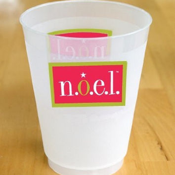 Fine Whines Frosted Plastic Cup, 14-Ounce, sleeve of 10, n.o.e.l. (Noise of Everyone's Laughter)