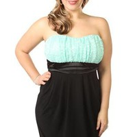 plus size strapless embroidered lace tight club dress - debshops.com