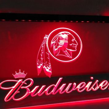 LD290- Washington Redskins Budweiser NR   LED Neon Light Sign  home decor  crafts